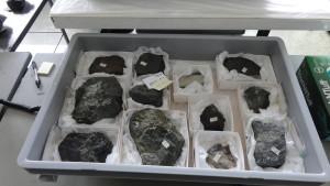 Repacked stones in plastic box.
